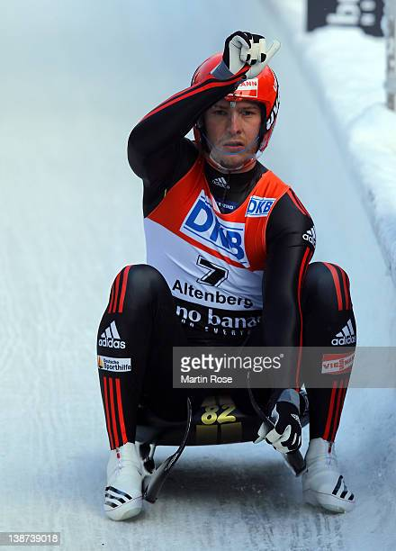 David Moeller of Germany reacts after the men's single run in the Luge World Championship on February 11 2012 in Altenberg Germany