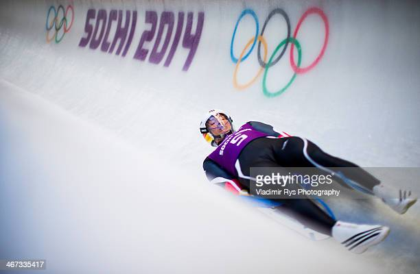 David Moeller of Germany takes part at the Luge Men's Singles Training session ahead of the Sochi 2014 Winter Olympics at the Sanki Sliding Center on...
