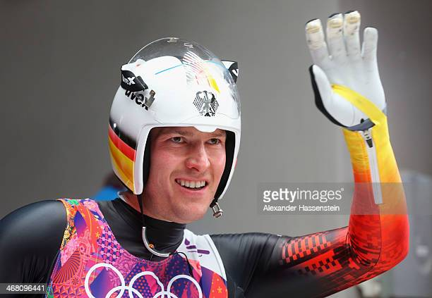 David Moeller of Germany waves to fans after competing during the Men's Luge Singles on Day 2 of the Sochi 2014 Winter Olympics at Sliding Center...