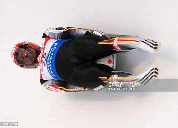 David Moller of Germany competes at the Luge World Cup Men competition in Sigulda February 17 2008 AFP PHOTO/ILMARS ZNOTINS