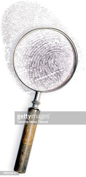David Montesino and Fred Matamoros color illustration of magnifying glass enlarging view of thumbprint The News Tribune /MCT via Getty Images