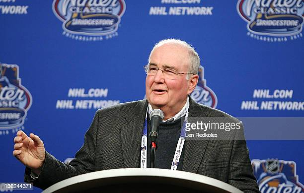 David Montgomery General Partner President and Chief Executive Officer of the Philadelphia Phillies speaks to the media during the Winter Classic...