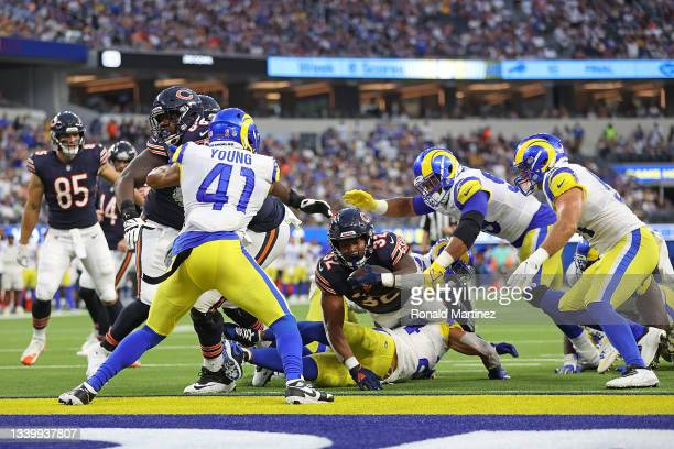 David Montgomery of the Chicago Bears dives in for a touchdown during the first half against the Los Angeles Rams at SoFi Stadium on September 12,...