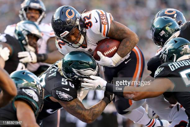 David Montgomery of the Chicago Bears is stopped short of the goal line by Duke Riley of the Philadelphia Eagles in the fourth quarter at Lincoln...