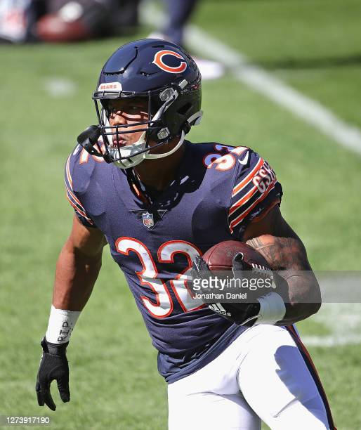 David Montgomery of the Chicago Bears participates in warm-ups before a game against the New York Giants at Soldier Field on September 20, 2020 in...