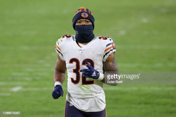David Montgomery of the Chicago Bears walks across the field after losing to the Green Bay Packers 41-25 at Lambeau Field on November 29, 2020 in...