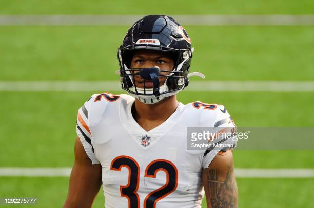 David Montgomery of the Chicago Bears warms up before the game against the Minnesota Vikings at U.S. Bank Stadium on December 20, 2020 in...