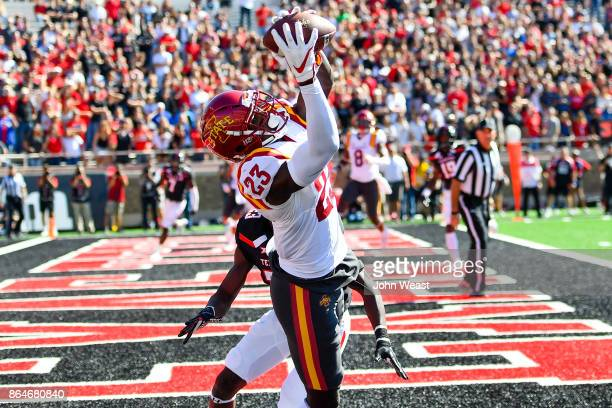 David Montgomery of the Iowa State Cyclones makes the catch for a touchdown during the game against the Texas Tech Red Raiders on October 21 2017 at...