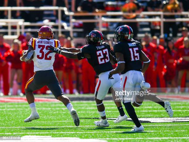 David Montgomery of the Iowa State Cyclones outruns the Texas Tech Red Raiders defense during the game between the Texas Tech Red Raiders and the...