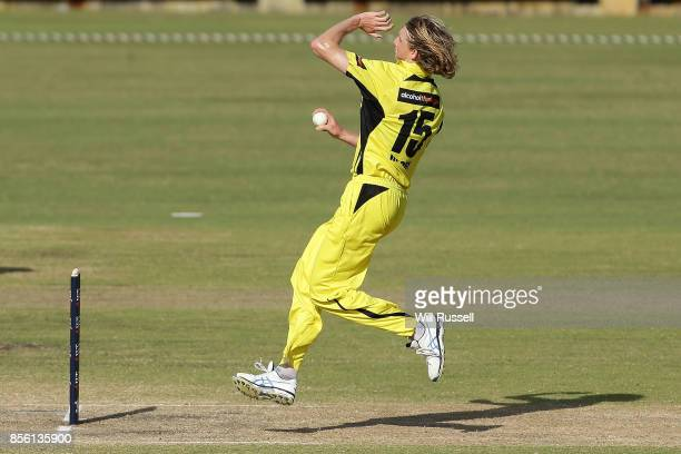 David Moody of the Warriors bowls during the JLT One Day Cup match between Victoria and Western Australia at WACA on October 1 2017 in Perth Australia