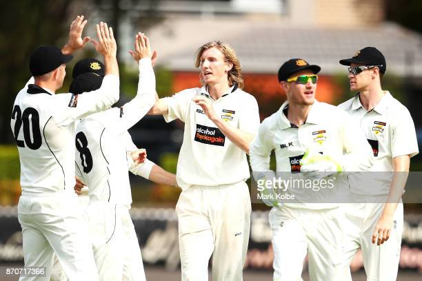David Moody of the Warriors celebrates with his team after taking the wicket of Nic Maddinson of the Blues during day three of the Sheffield Shield...