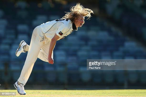 David Moody of Western Australia bowls during day two of the Sheffield Shield match between Western Australia and South Australia at WACA on November...