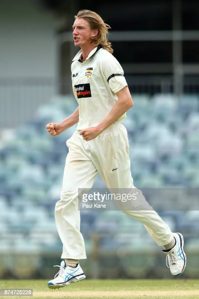 David Moody of Western Australia celebrates the wicket of Joe Mennie of South Australia during day four of the Sheffield Shield match between Western...