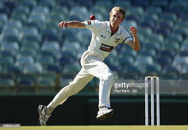 David Moody of Western Australia fields the ball off his bowling during day one of the Sheffield Shield match between Western Australia and Victoria...