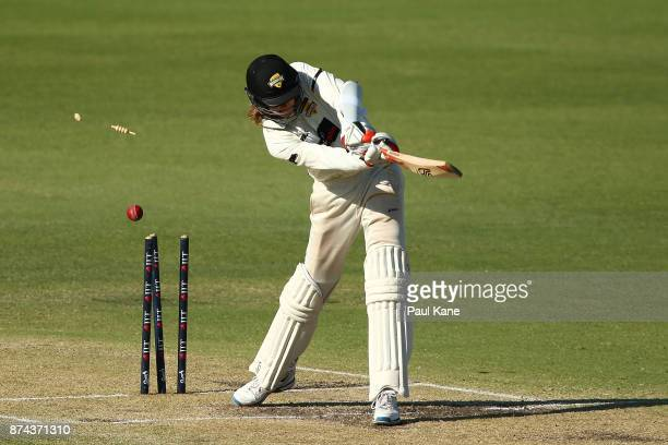 David Moody of Western Australia is bowled by Joe Mennie of South Australia during day three of the Sheffield Shield match between Western Australia...