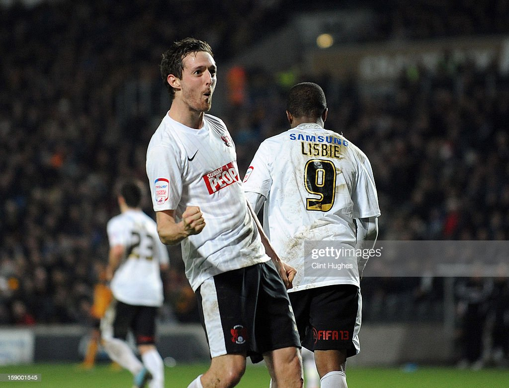 David Mooney (left) of Leyton Orient celebrates after he scores the first goal of the game for his side during the FA Cup with Budweiser Third Round match between Hull City and Leyton Orient at the KC Stadium on January 5, 2013 in Hull, England