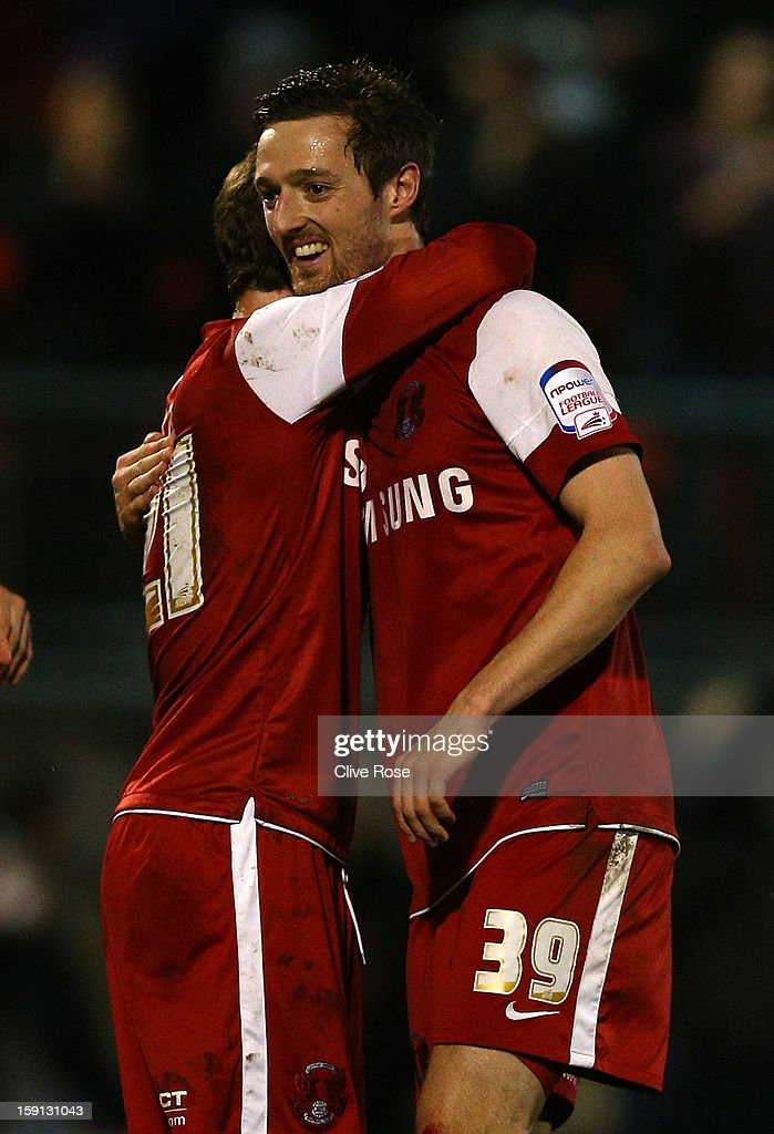 David Mooney of Leyton Orient celebrates at the final whistle after scoring the winning goal during the Johnstone's Paint Trophy southern section semi final between Leyton Orient and Yeovil Town at the Matchroom Stadium on January 8, 2013 in London, England.