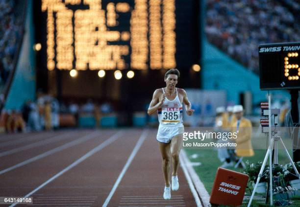 David Moorcroft of Great Britain enroute to placing 14th in the final of the men's 5000 metres event during the Summer Olympic Games in Los Angeles...