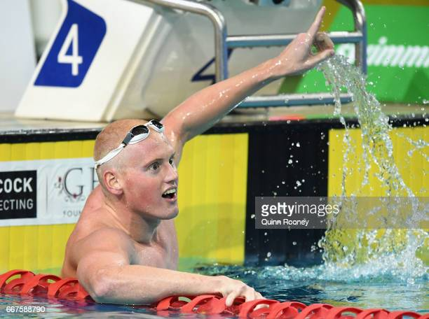 David Morgan of Australia celebrates winning the Men's 200m Butterfly during the 2017 Australian Swimming Championships at the Sleeman Sports Complex...