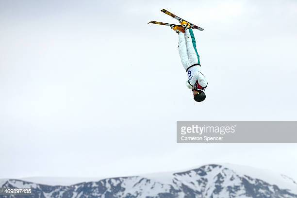David Morris of Australia practices prior to the Freestyle Skiing Men's Aerials Qualification on day ten of the 2014 Winter Olympics at Rosa Khutor...