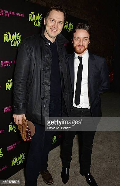 David Morrissey and James McAvoy attend an after party following the Gala Performance of 'The Ruling Class' at The Bankside Vaults on January 28 2015...