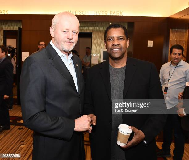 David Morse and Denzel Washington attend the 2018 Tony Awards Meet The Nominees Press Junket on May 2 2018 in New York City