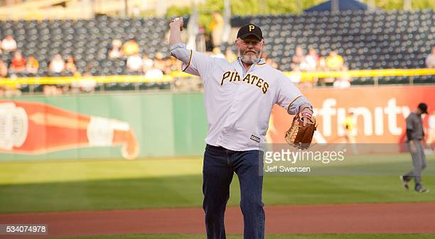 David Morse Star of WGN America's Outsiders throws out the first pitch at the Pittsburgh Pirates game at PNC Park on May 24 2016 in Pittsburgh...