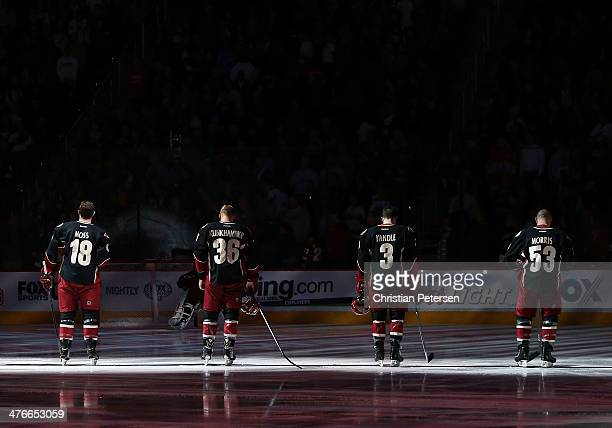 David Moss, Rob Klinkhammer, Keith Yandle and Derek Morris of the Phoenix Coyotes before the NHL game against the Los Angeles Kings at Jobing.com...