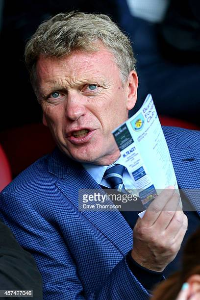 David Moyes attends during the Barclays Premier League match between Burnley and West Ham United at Turf Moor on October 18 2014 in Burnley England