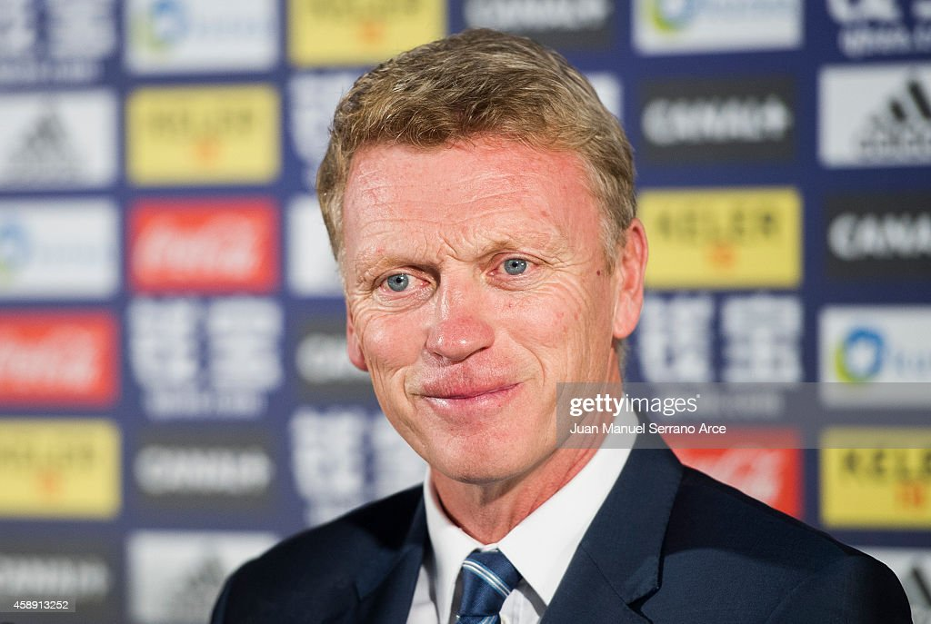 David Moyes during a press conference after he was presented as Real Sociedad's new head coach at Estadio Anoeta on November 13, 2014 in San Sebastian, Spain.