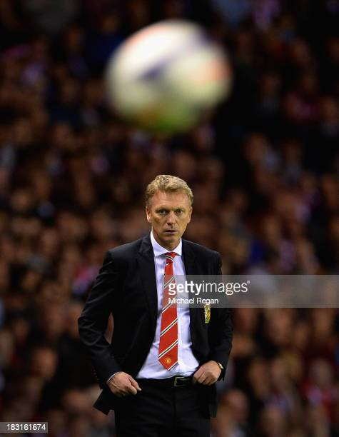 David Moyes manager of Manchester United keeps his eye on the ball during the Barclays Premier League match between Sunderland and Manchester United...