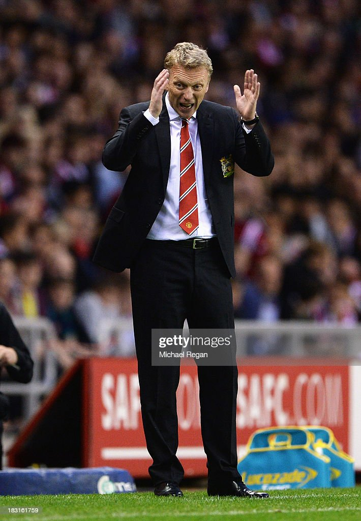David Moyes, manager of Manchester United reacts during the Barclays Premier League match between Sunderland and Manchester United at the Stadium of Light on October 5, 2013 in Sunderland, England.