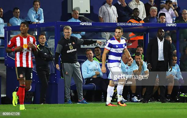 David Moyes Manager of Sunderland and Jimmy Floyd Hasselbaink manager of QPR look on during the EFL Cup Third Round match between Queens Park Rangers...