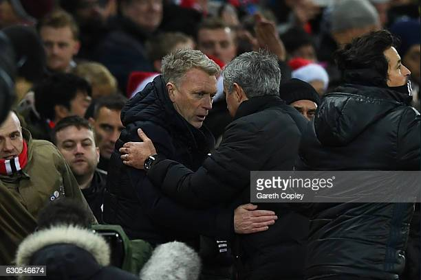 David Moyes Manager of Sunderland and Jose Mourinho Manager of Manchester United shake hands following the Premier League match between Manchester...