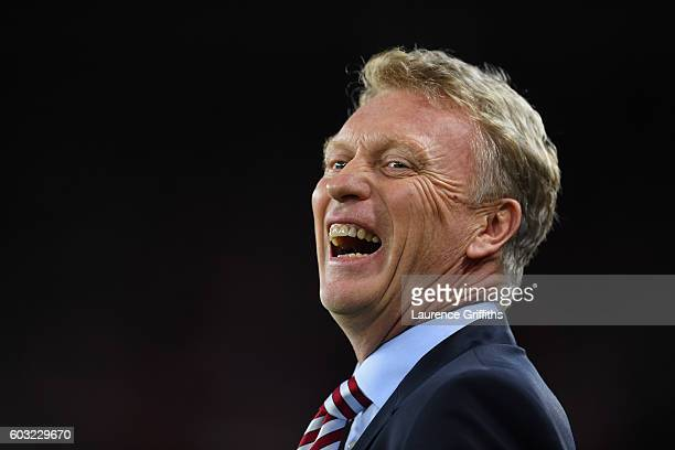David Moyes manager of Sunderland laughs prior to the Premier League match between Sunderland and Everton at Stadium of Light on September 12 2016 in...