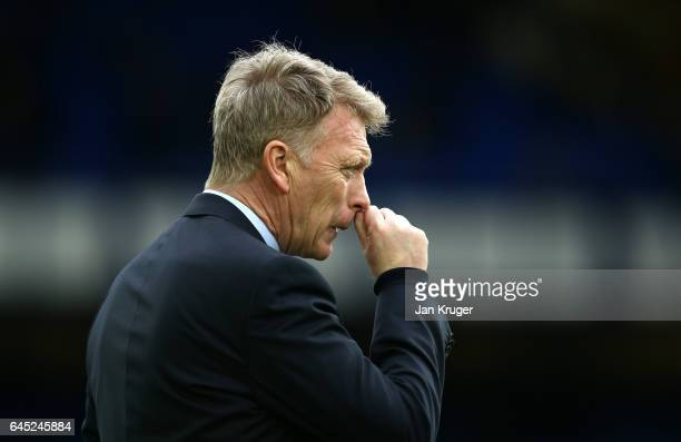 David Moyes manager of Sunderland looks on during the Premier League match between Everton and Sunderland at Goodison Park on February 25 2017 in...