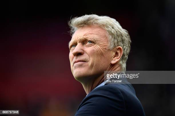 David Moyes Manager of Sunderland looks on during the Premier League match between Sunderland and West Ham United at Stadium of Light on April 15...