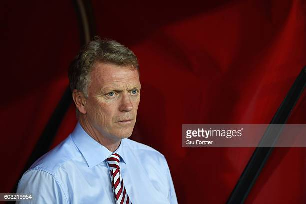 David Moyes manager of Sunderland looks on prior to the Premier League match between Sunderland and Everton at Stadium of Light on September 12 2016...