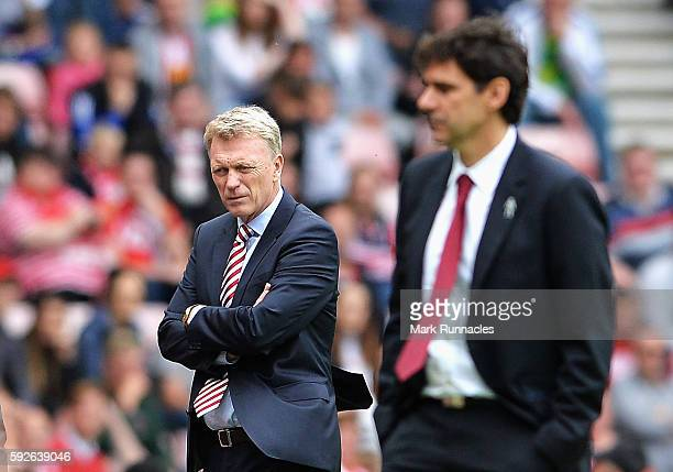 David Moyes Manager of Sunderland looks on with Aitor Karanka Manager of Middlesbrough during the Premier League match between Sunderland and...