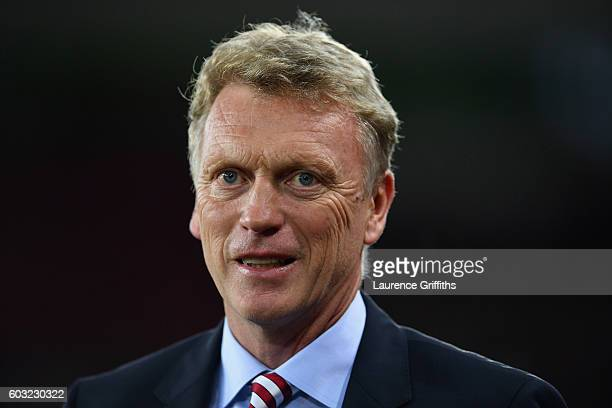 David Moyes manager of Sunderland looks thoughtful prior to the Premier League match between Sunderland and Everton at Stadium of Light on September...