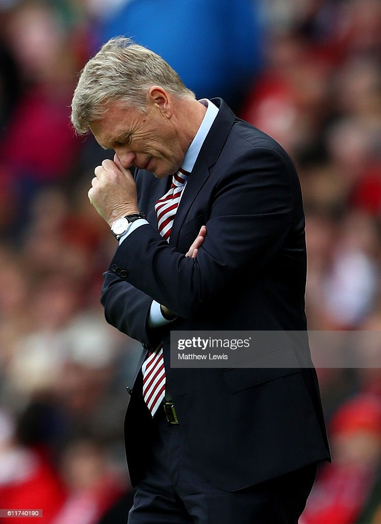 David Moyes, Manager of Sunderland reacts during the Premier League match between Sunderland and West Bromwich Albion at Stadium of Light on October 1, 2016 in Sunderland, England.