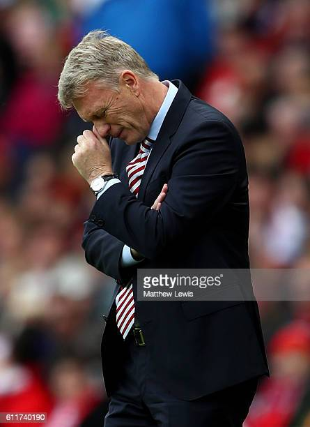 David Moyes Manager of Sunderland reacts during the Premier League match between Sunderland and West Bromwich Albion at Stadium of Light on October 1...