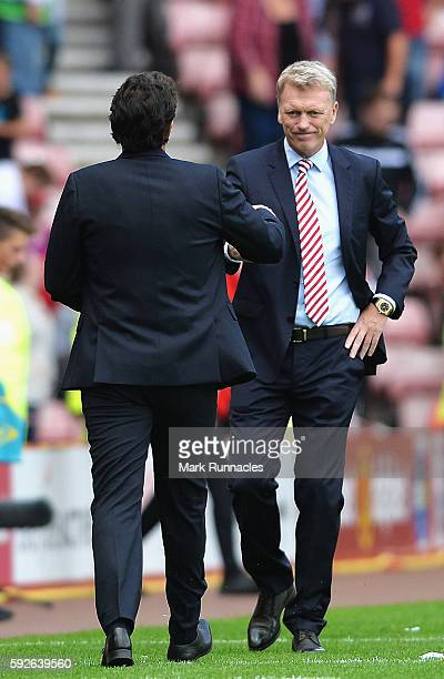 David Moyes Manager of Sunderland shakes hands with Aitor Karanka Manager of Middlesbrough after the Premier League match between Sunderland and...