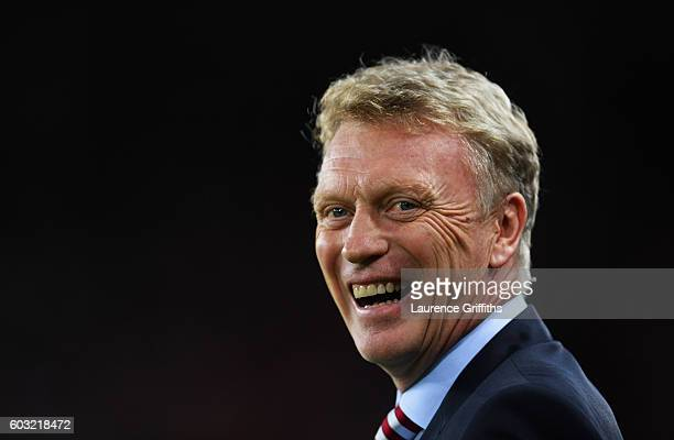 David Moyes manager of Sunderland smiles prior to the Premier League match between Sunderland and Everton at Stadium of Light on September 12 2016 in...