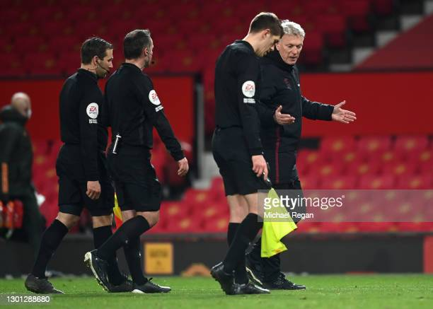 David Moyes, Manager of West Ham confronts Match officials Paul Tierney, Constantine Hatzidakis and Ian Hussin following The Emirates FA Cup Fifth...
