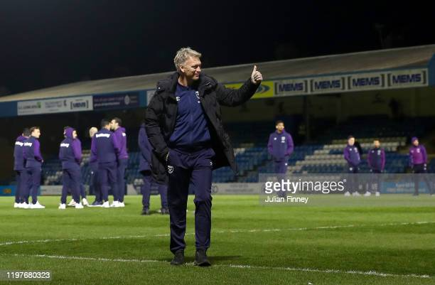 David Moyes, Manager of West Ham United acknowledges fans prior to the FA Cup Third Round match between Gillingham and West Ham United at MEMS...