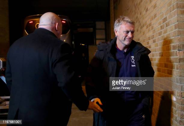 David Moyes, Manager of West Ham United arrives at the stadium prior to the FA Cup Third Round match between Gillingham and West Ham United at MEMS...