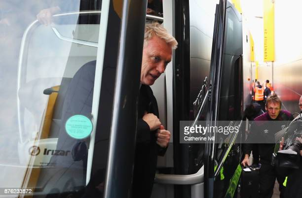 David Moyes Manager of West Ham United arrives prior to the Premier League match between Watford and West Ham United at Vicarage Road on November 19...