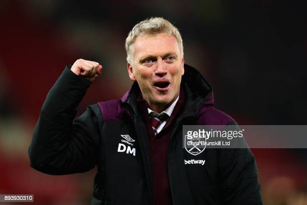 David Moyes Manager of West Ham United celebrates after the Premier League match between Stoke City and West Ham United at Bet365 Stadium on December...