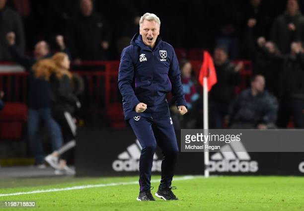 David Moyes Manager of West Ham United celebrates during the Premier League match between Sheffield United and West Ham United at Bramall Lane on...